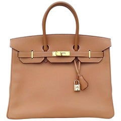 Hermès Birkin Top Handle Bag Naturel Epsom Leather Gold Hdw 35 cm