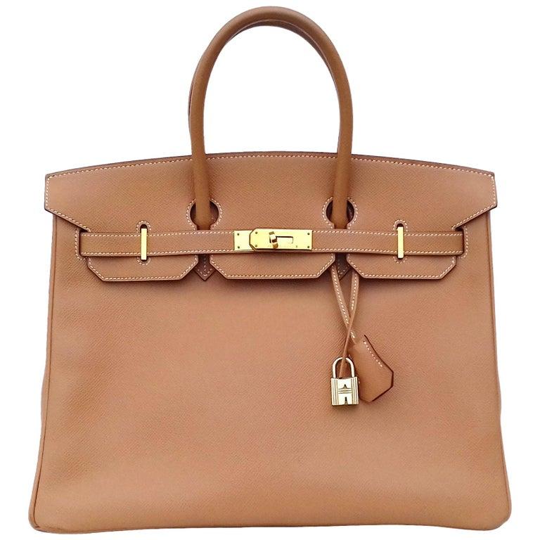 Hermès Birkin Top Handle Bag Naturel Epsom Leather Gold Hdw 35 cm For Sale