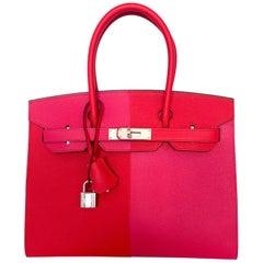 Hermès Birkin Tri-Color Sellier 30 Rouge Casaque Rose Extreme