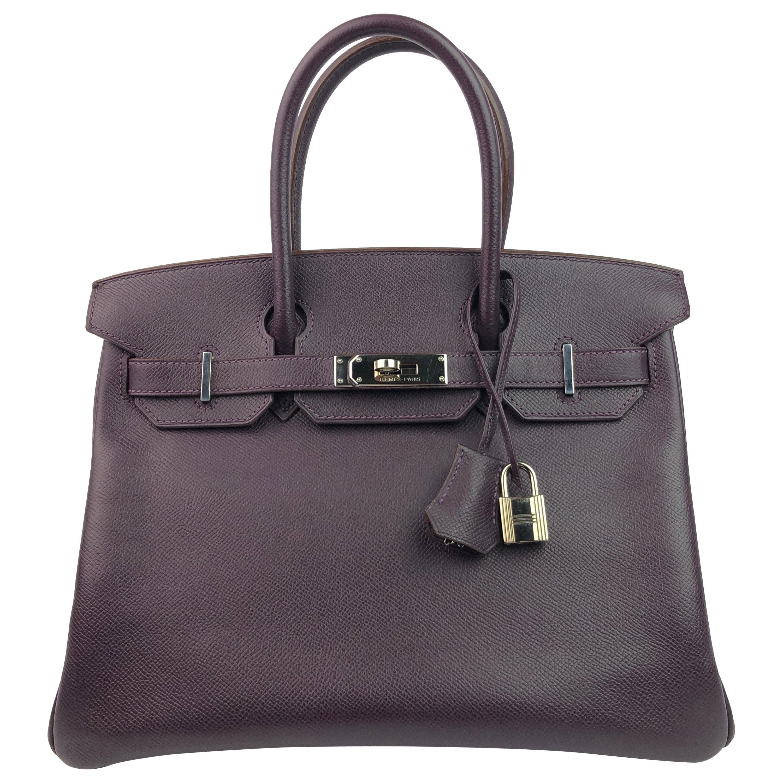 Hermes Birlkn 30 Raisin Purple Epsom Palladium Hardware