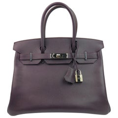 Hermes Birlkn 30 Raisin Purple Epsom Palladium Hardware