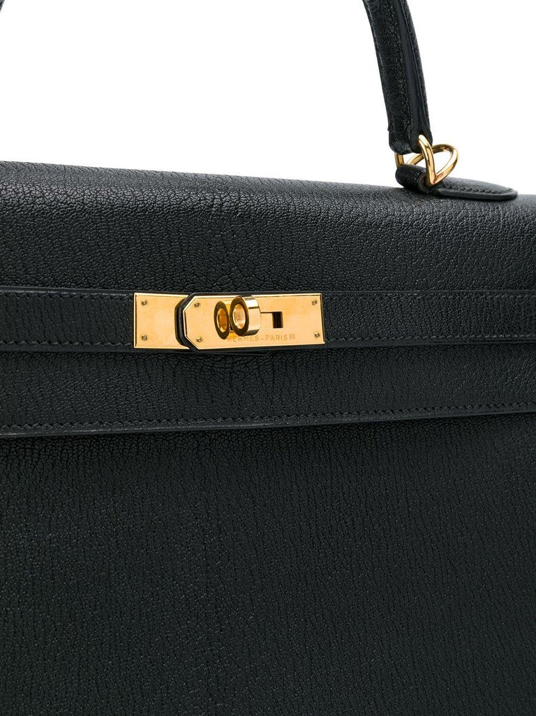 Women's Hermès Black 35cm Kelly Sellier Bag For Sale