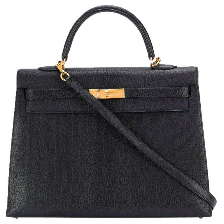 Hermès Black 35cm Kelly Sellier Bag For Sale