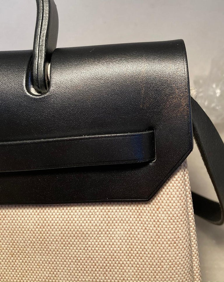 Hermes Black and Beige Canvas Herbag Tote  For Sale 9