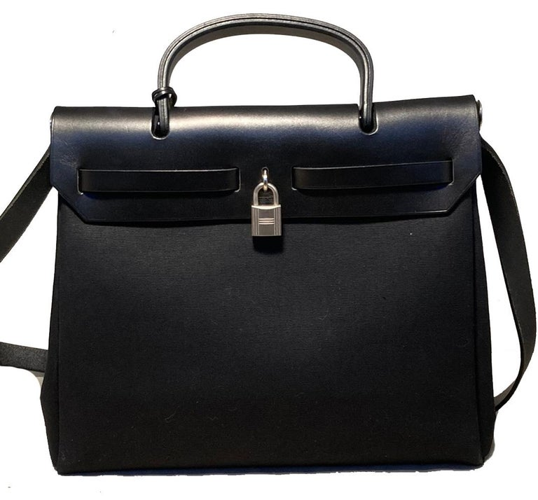 Hermes Black and Beige Canvas Herbag Tote  For Sale 11