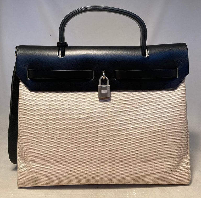 Women's or Men's Hermes Black and Beige Canvas Herbag Tote  For Sale