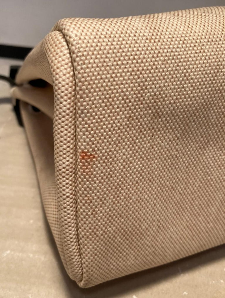 Hermes Black and Beige Canvas Herbag Tote  For Sale 2