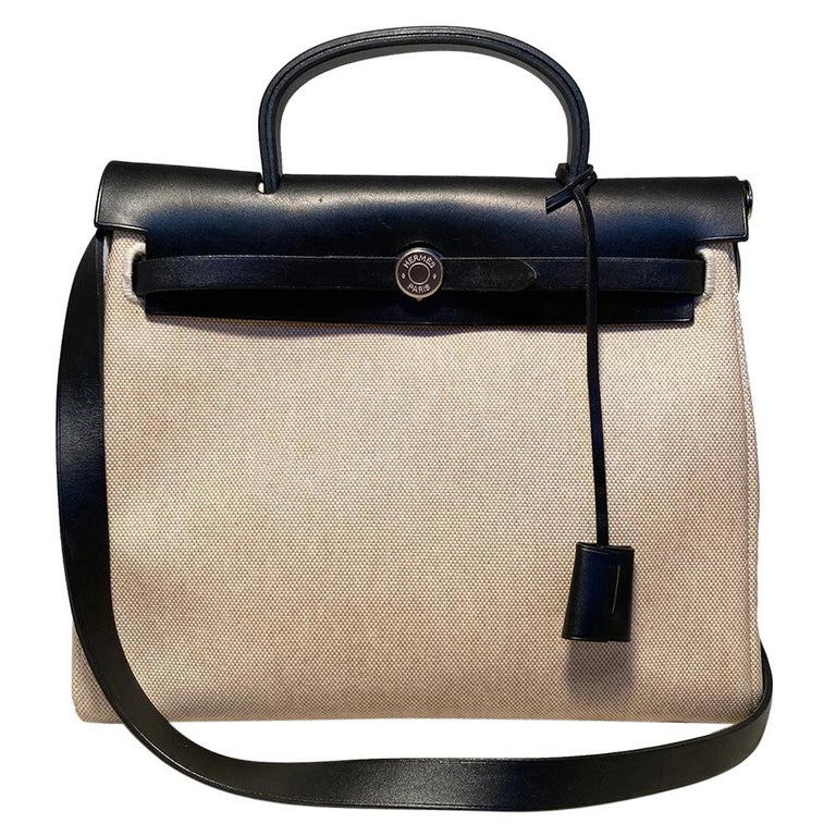Hermes Black and Beige Canvas Herbag Tote  For Sale