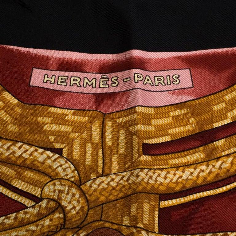 Hermès Black and Gold Brandebourgs Silk Twill Scarf In Good Condition For Sale In Dubai, Al Qouz 2