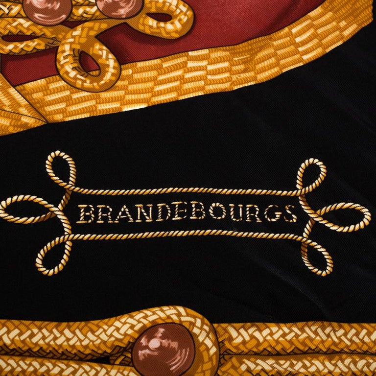 Women's Hermès Black and Gold Brandebourgs Silk Twill Scarf For Sale