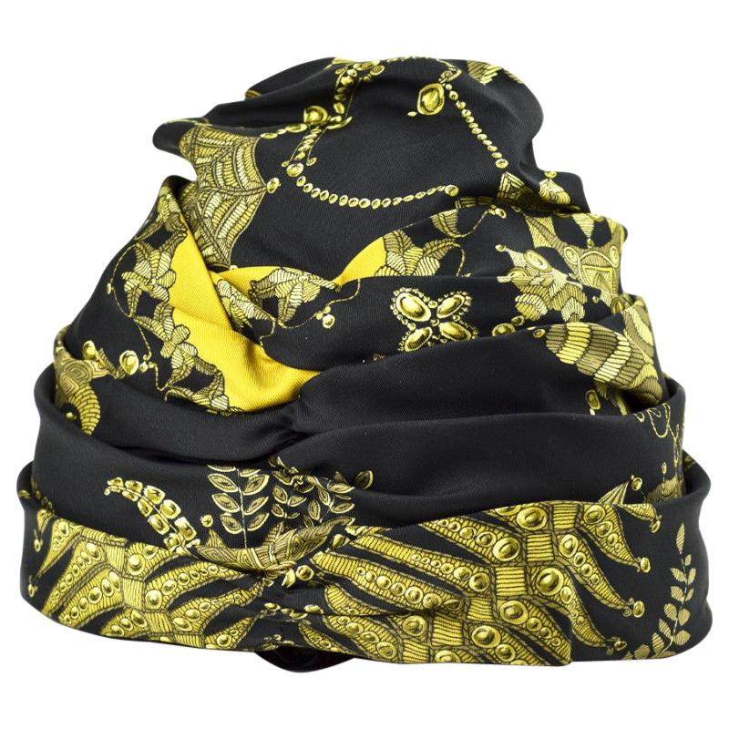HERMES Black And Gold Silk Hat