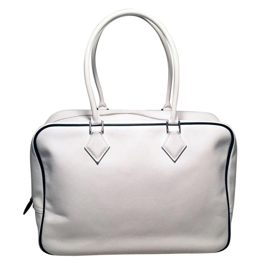 Hermes Black and White Veau Grain Leather Plume 32 Tote Handbag