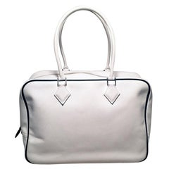 Hermes Black and White Veau Grain Leather Plume 32 Tote Handbag