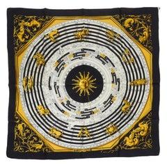 Hermès Black Astrologie Silk Twill Scarf