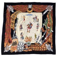 HERMES Black & Beige Scotland Print by Philip Ledoux Scarf