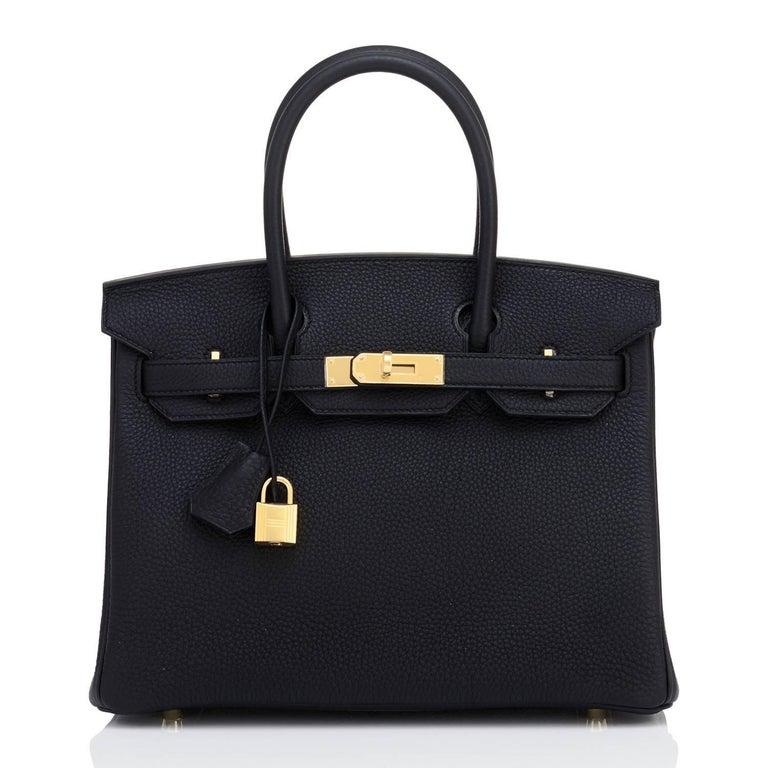 Women's or Men's Hermes Black Birkin 30cm Togo Gold Hardware Bag NEW For Sale