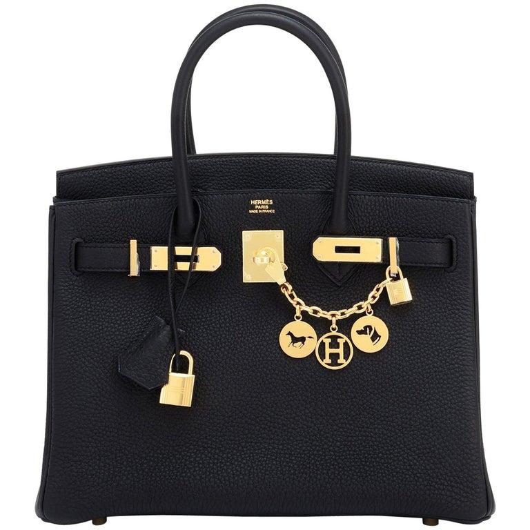 Hermes Black Birkin 30cm Togo Gold Hardware Bag NEW For Sale