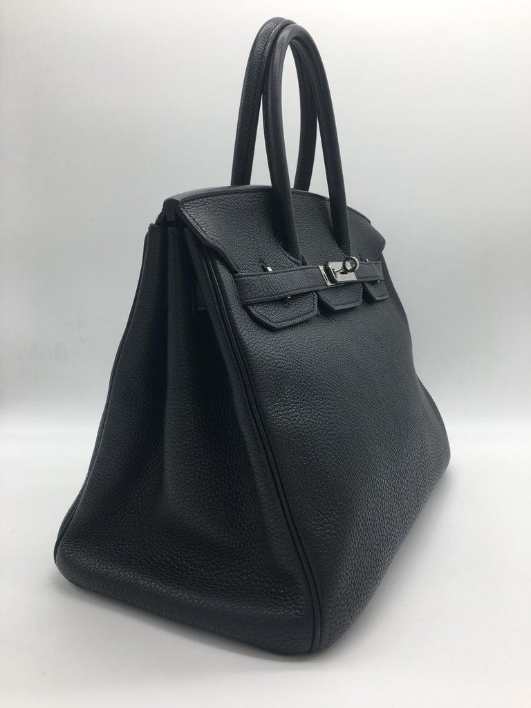 Hermes Black Birkin 35 in Togo with Palladium For Sale 1