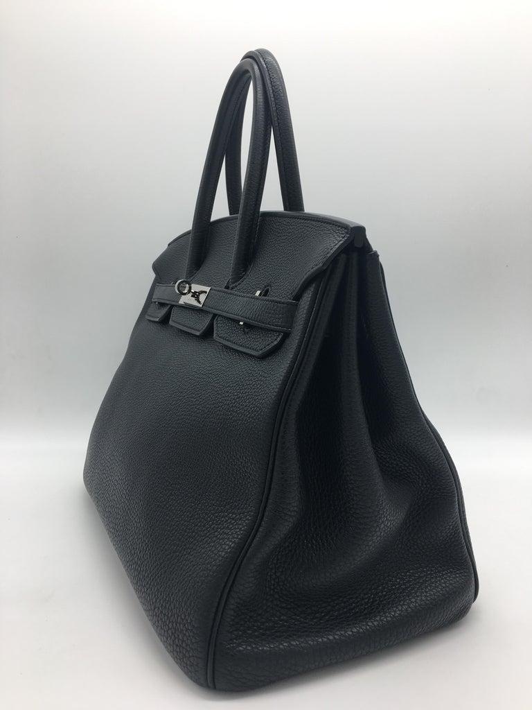 Hermes Black Birkin 35 in Togo with Palladium For Sale 2