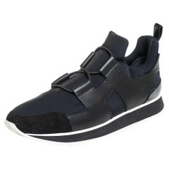 Hermes Black/Blue Leather And Nylon Low Top Sneakers Size 40