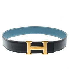 Hermès Black/Blue Leather Reversible Gold Metal Finished H Buckle Belt 75cm