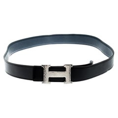 Hermès Black/Blue Leather Reversible Silver Hammered Finished H Buckle Belt 90cm