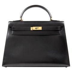 Hermès Black Box Calf 32 cm Kelly Bag