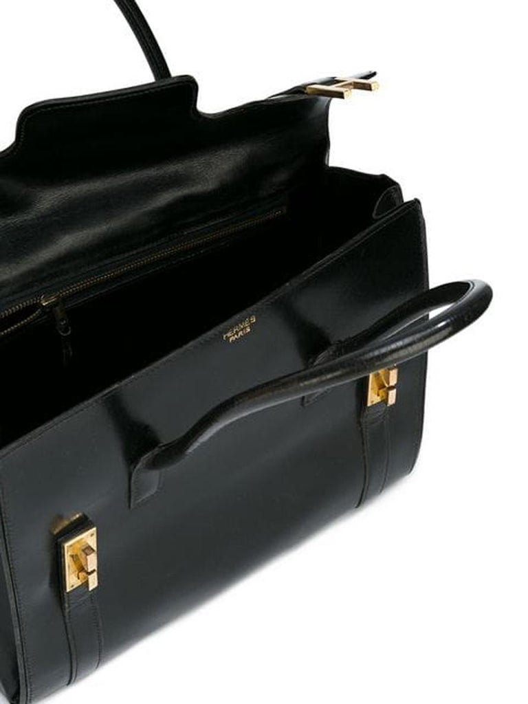 Hermes Black Box Calf Drag Tote Bag In Good Condition For Sale In Paris, FR