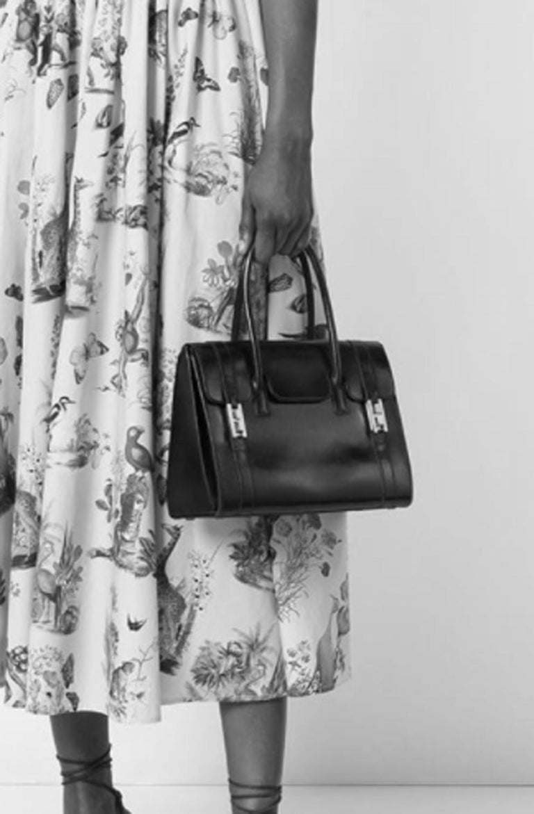 Hermes Black Box Calf Drag Tote Bag For Sale 1