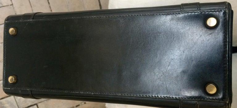 Hermes Black Box Calf Drag Tote Bag For Sale 2