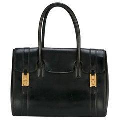Hermes Black Box Calf Drag Tote Bag