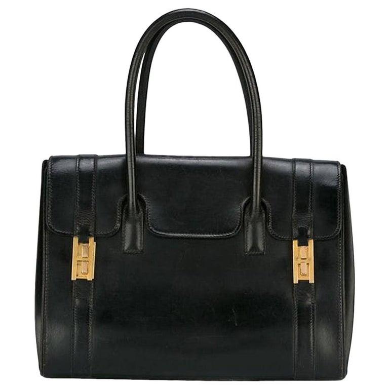 Hermes Black Box Calf Drag Tote Bag For Sale