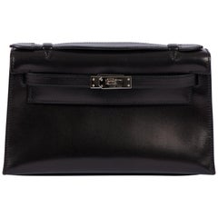 Hermes Black Box Calf Kelly Pouchette