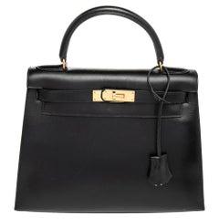 Hermes Black Box Calf Leather Gold Hardware Kelly Sellier 28 Bag
