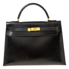 Hermes Black Box Calf Leather Gold Hardware Kelly Sellier 32 Bag
