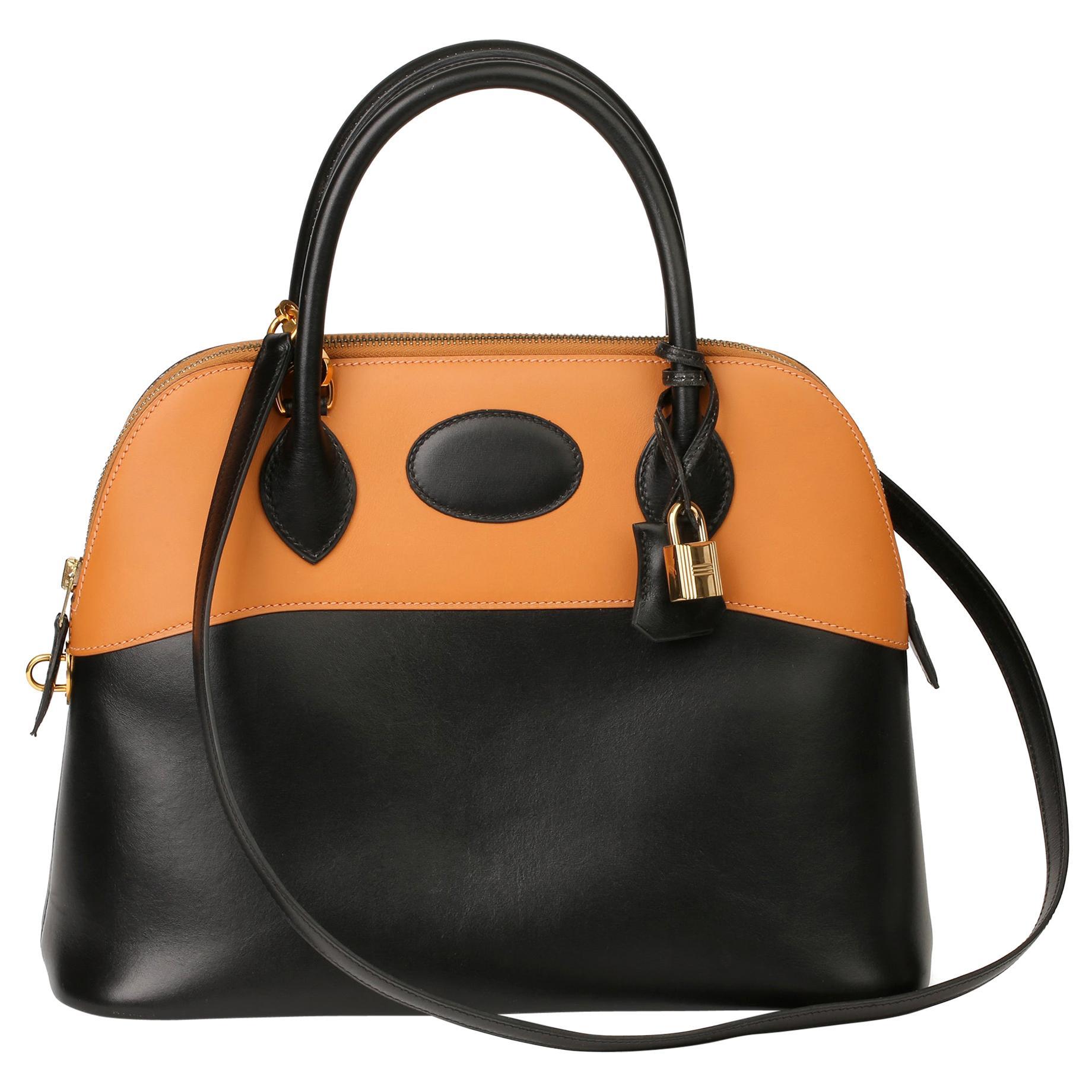 Hermès Black Box Calf Leather & Natural Chamonix Leather Bolide 31cm