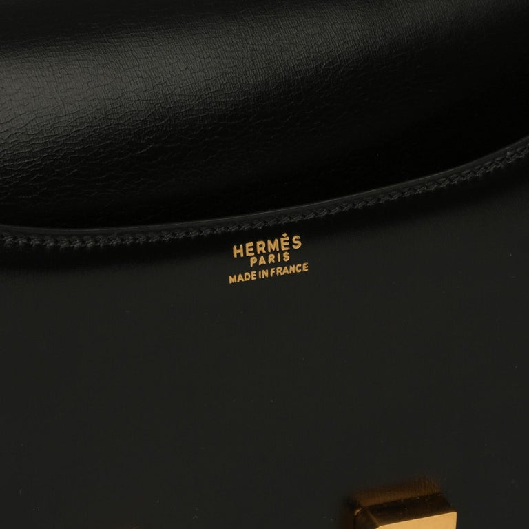Hermès Black Box Calf Leather Vintage Constance 23 For Sale 7