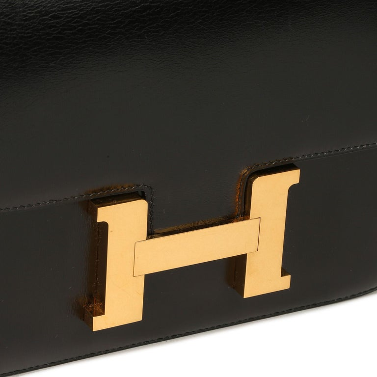 HERMÈS Black Box Calf Leather Vintage Constance 23  Xupes Reference: HBJJLG023 Serial Number: (F) Age (Circa): 1976 Accompanied By: Hermès Dust Bag Authenticity Details: Date Stamp (Made in France) Gender: Ladies Type: Shoulder  Colour:
