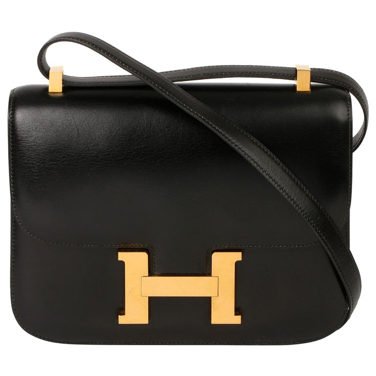 Hermès Black Box Calf Leather Vintage Constance 23 For Sale