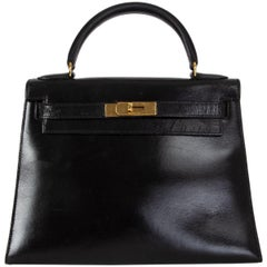 HERMES black Box KELLY I 28 SELLIER Bag VINTAGE