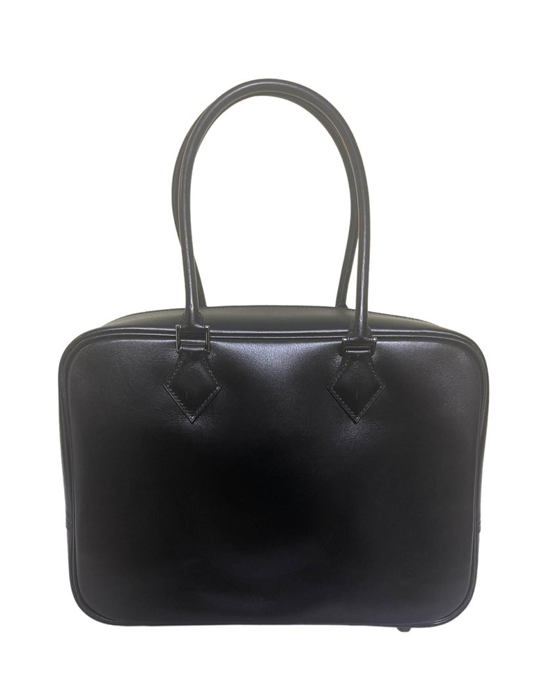 Hermes Black Box Leather 28cm Plume Bag In Excellent Condition For Sale In New York, NY