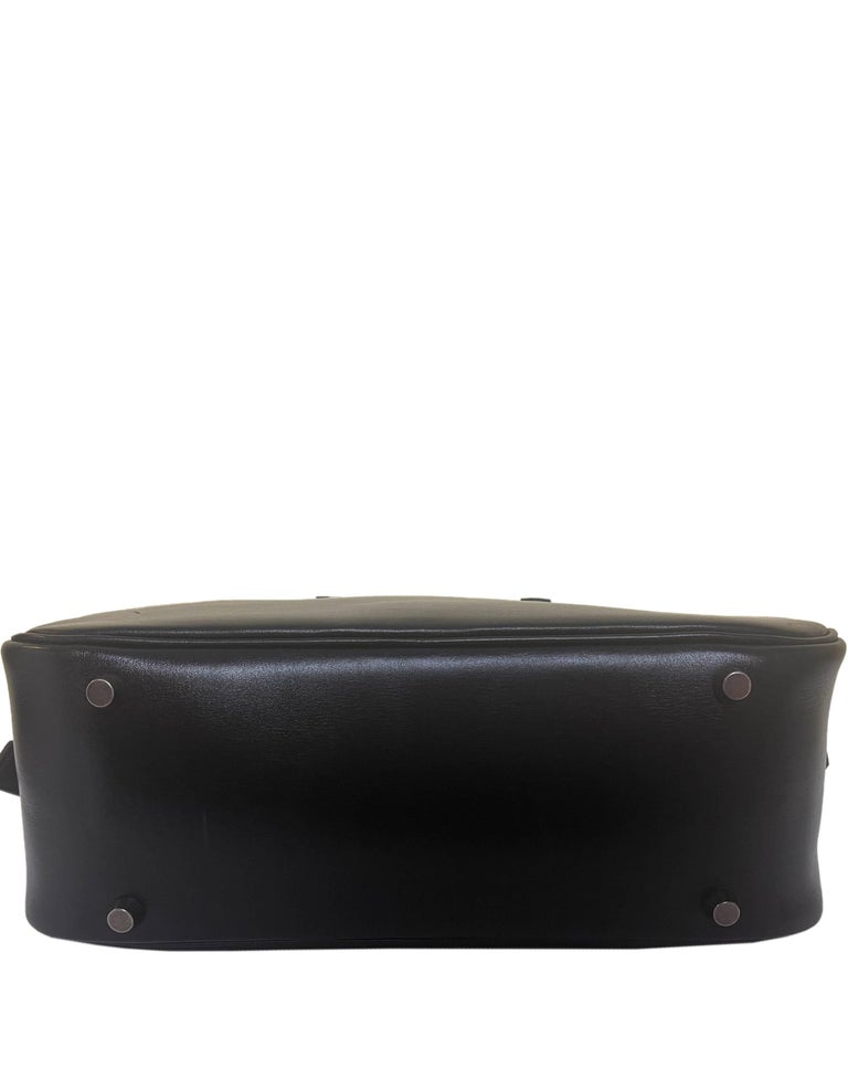 Hermes Black Box Leather 28cm Plume Bag For Sale 2