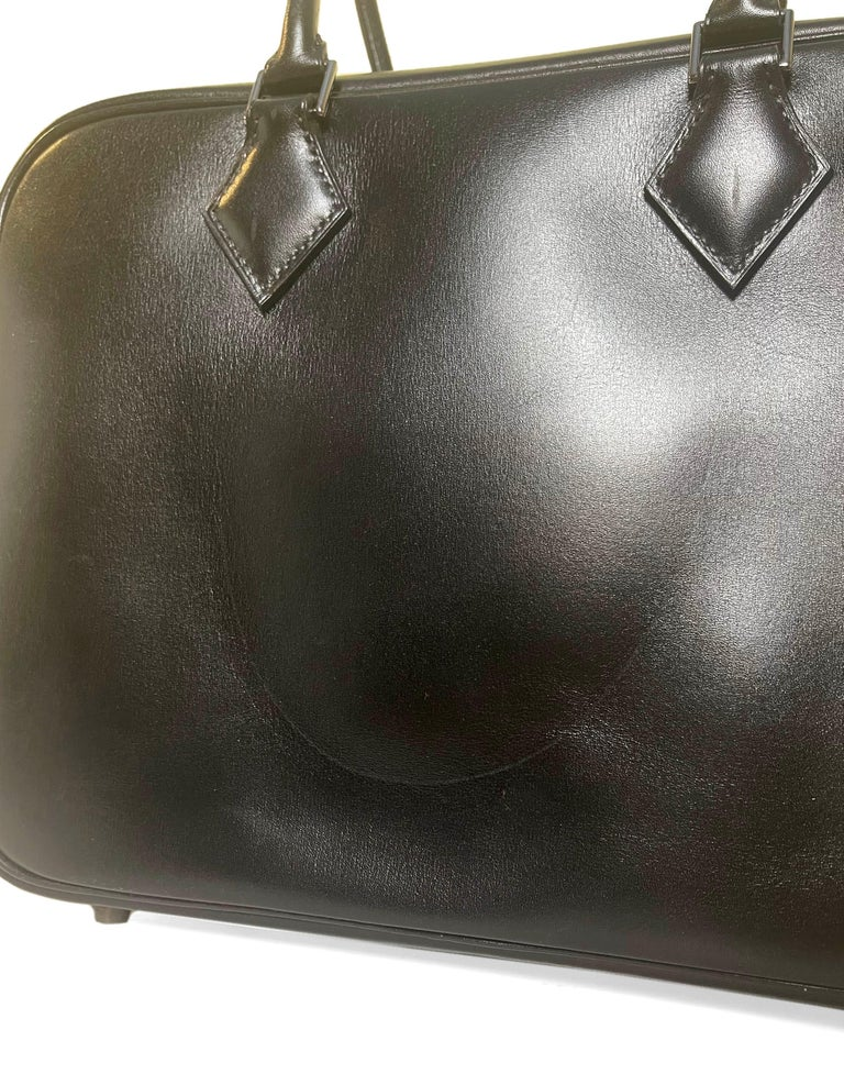 Hermes Black Box Leather 28cm Plume Bag For Sale 3