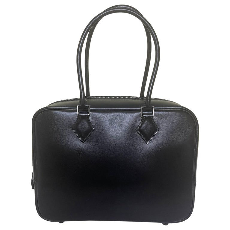 Hermes Black Box Leather 28cm Plume Bag For Sale