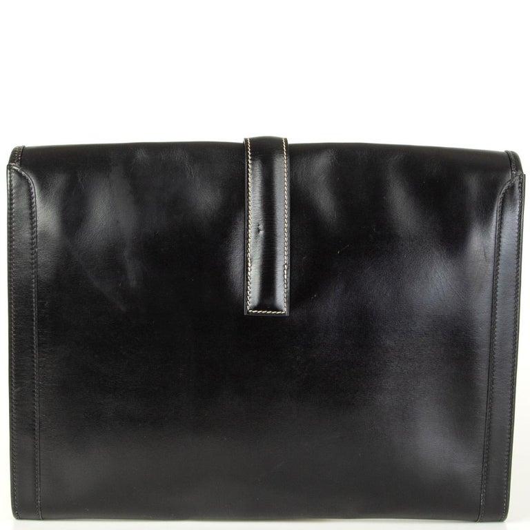 Black HERMES black Box leather JIGE 34 Clutch Bag For Sale