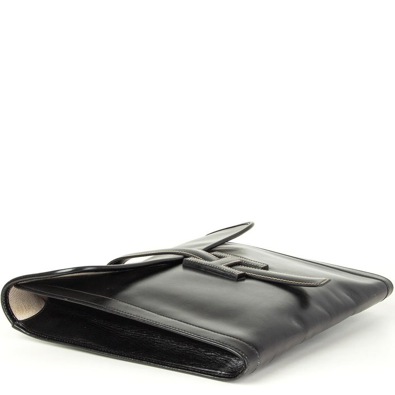 HERMES black Box leather JIGE 34 Clutch Bag In Good Condition For Sale In Zürich, CH