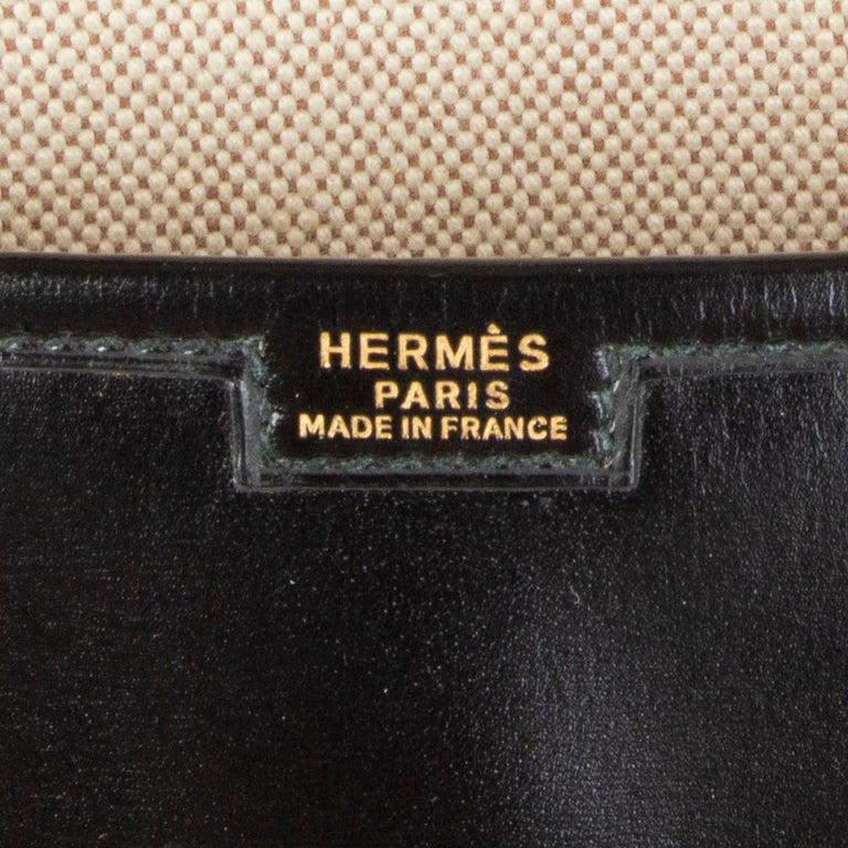 HERMES black Box leather JIGE 34 Clutch Bag For Sale 2