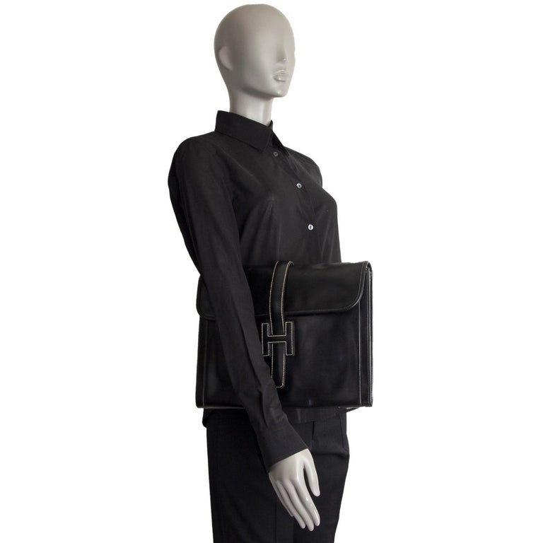 HERMES black Box leather JIGE 34 Clutch Bag For Sale 3