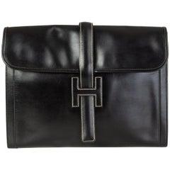 HERMES black Box leather JIGE 34 Clutch Bag