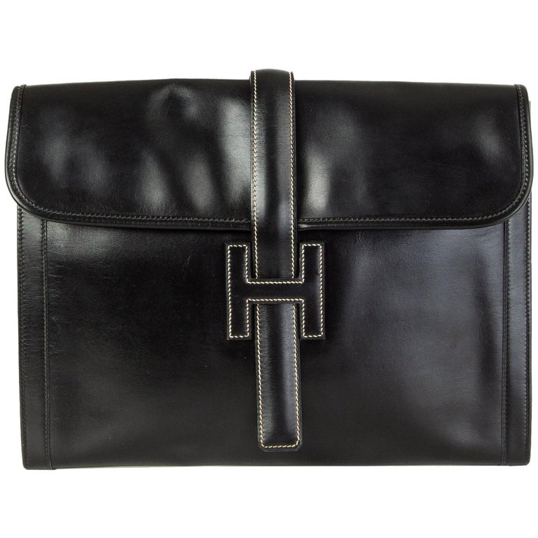 HERMES black Box leather JIGE 34 Clutch Bag For Sale